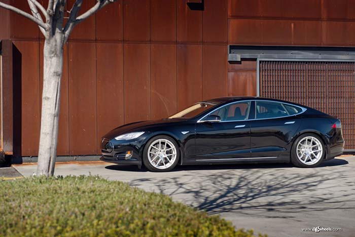 black tesla model s p85d 20x8.5 20x10 m510 staggered concave split five spoke wheels rims satin silver side front 3