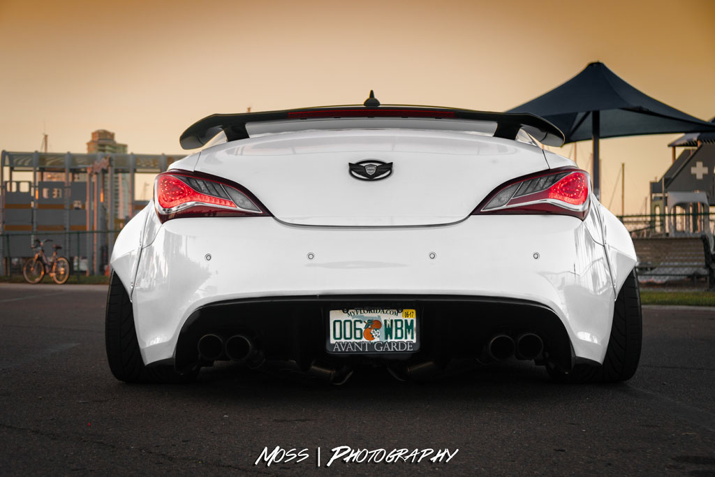White Hyundai Genesis Coupe Bk2 Gencoupe Wide Body F142 Polished Copper Directional Mesh Forged Wheels