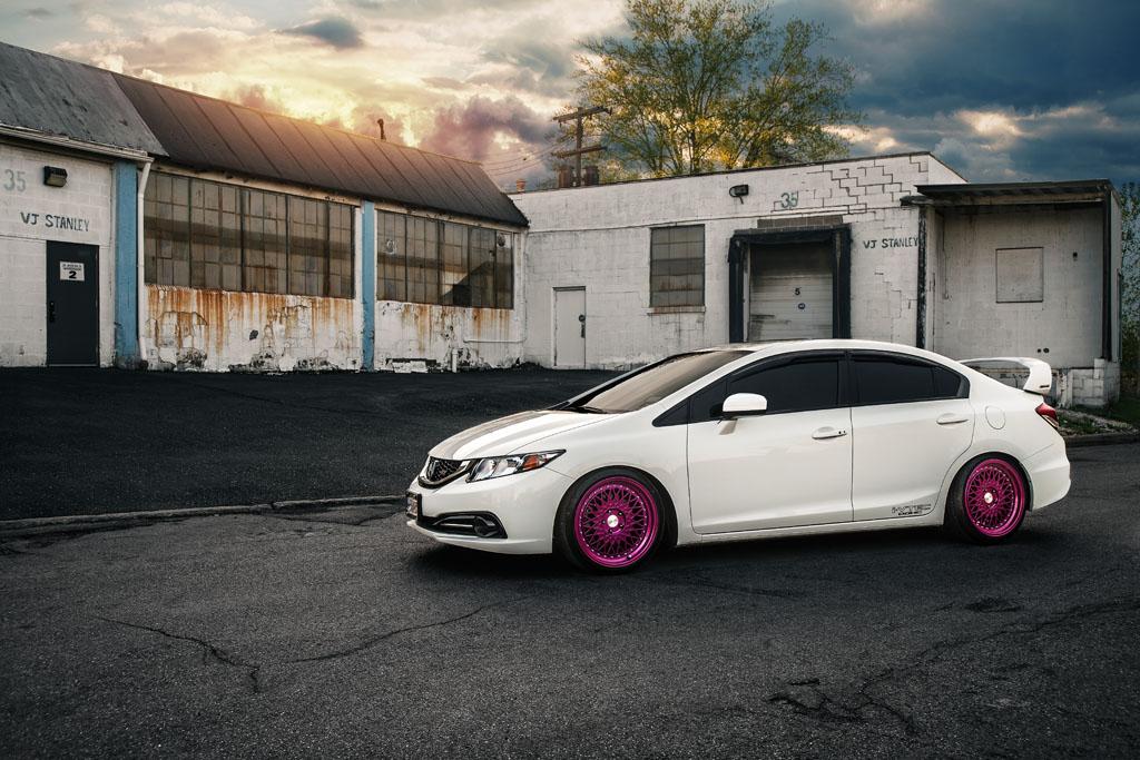 White Honda Civic Si Sedan M220 Custom Pink Finish Mesh Step Lip Wheels  Rims Wheel Fitment