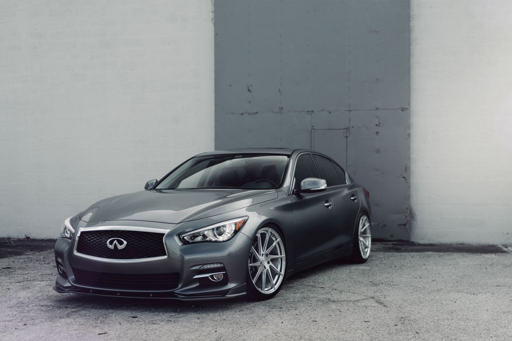 Gray Infiniti Q50 Q50s Sedan M621 Directional Concave Staggered Rotary Forged Flow Form Ten Spoke Brushed