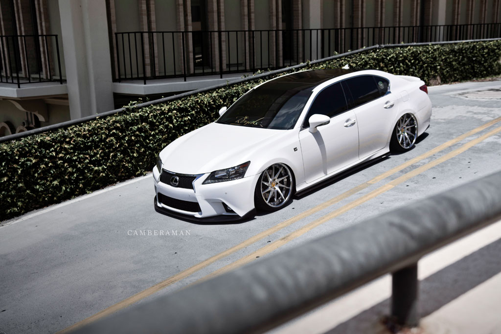 Lexus gs f sport f421 spec2 avant garde wheels avant garde air suspension bagged white lexus gs fsport f421 staggered concave directional forged wheels 20 inch brushed sciox Images