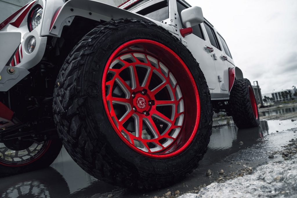 ksmoffroad ksm offroad wheels ksmoffroadwheels ksmofforad wheel rim rims tire tires nitto grappler toyo open country trail lifted lift jeep wrangler rubicon mccustoms mc customs miami agwheels ag avantgardewheels avantgarde avant garde truck suv ksm05 two tone gloss candy apple red face polished lip deep dish reverse hidden hardware white accents windows leveled two tone twotone custom forged aluminum forge