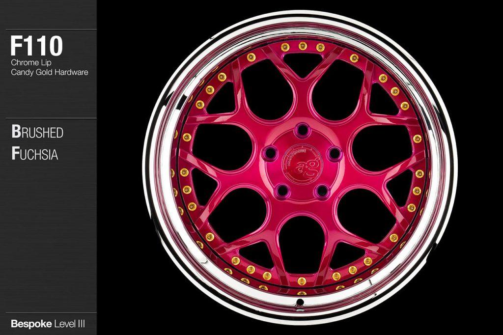 avant-garde-ag-wheels-f110-brushed-fuchsia-face-chrome-lip-candy-gold-hardware-1-min
