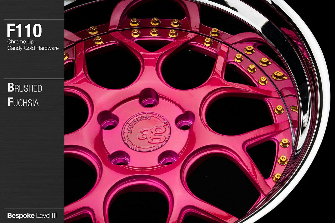 agwheels ag wheel wheels avant garde f110 brushed fuchsia chrome lip candy gold hardware forged wheels forge 3piece 3 piece 19inch 20inch