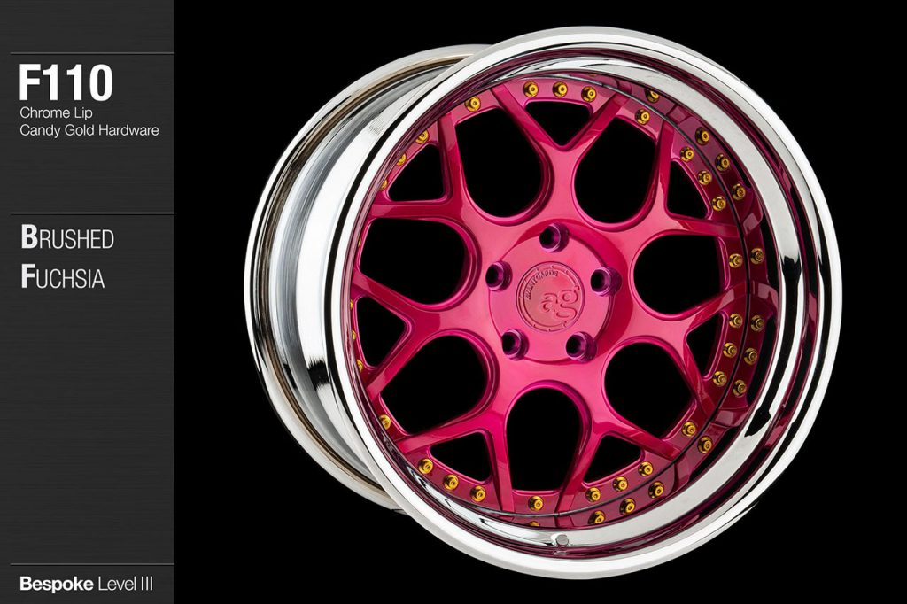 avant-garde-ag-wheels-f110-brushed-fuchsia-face-chrome-lip-candy-gold-hardware-4-min