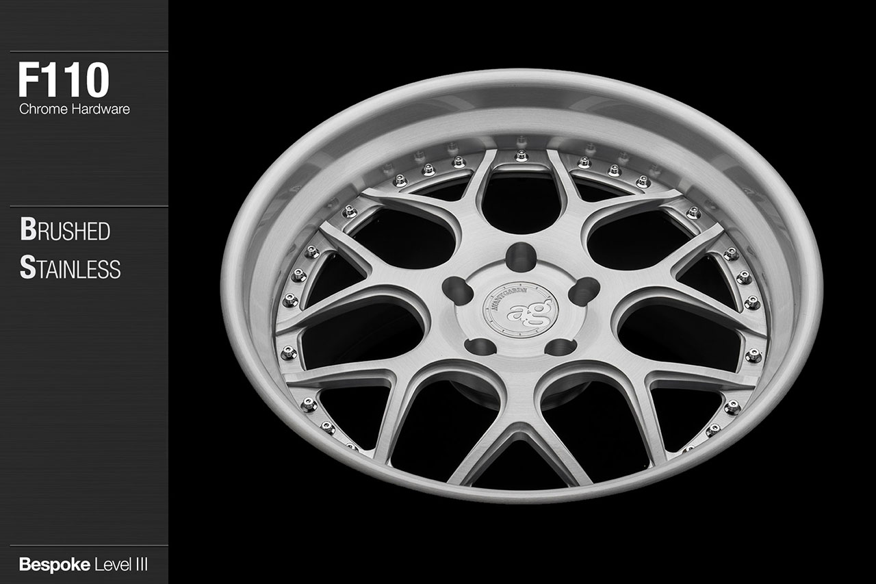 agwheels ag wheel wheels avant garde f110 brushed stainless chrome hardware forged wheels forge 3piece 3 piece 19inch 20inch