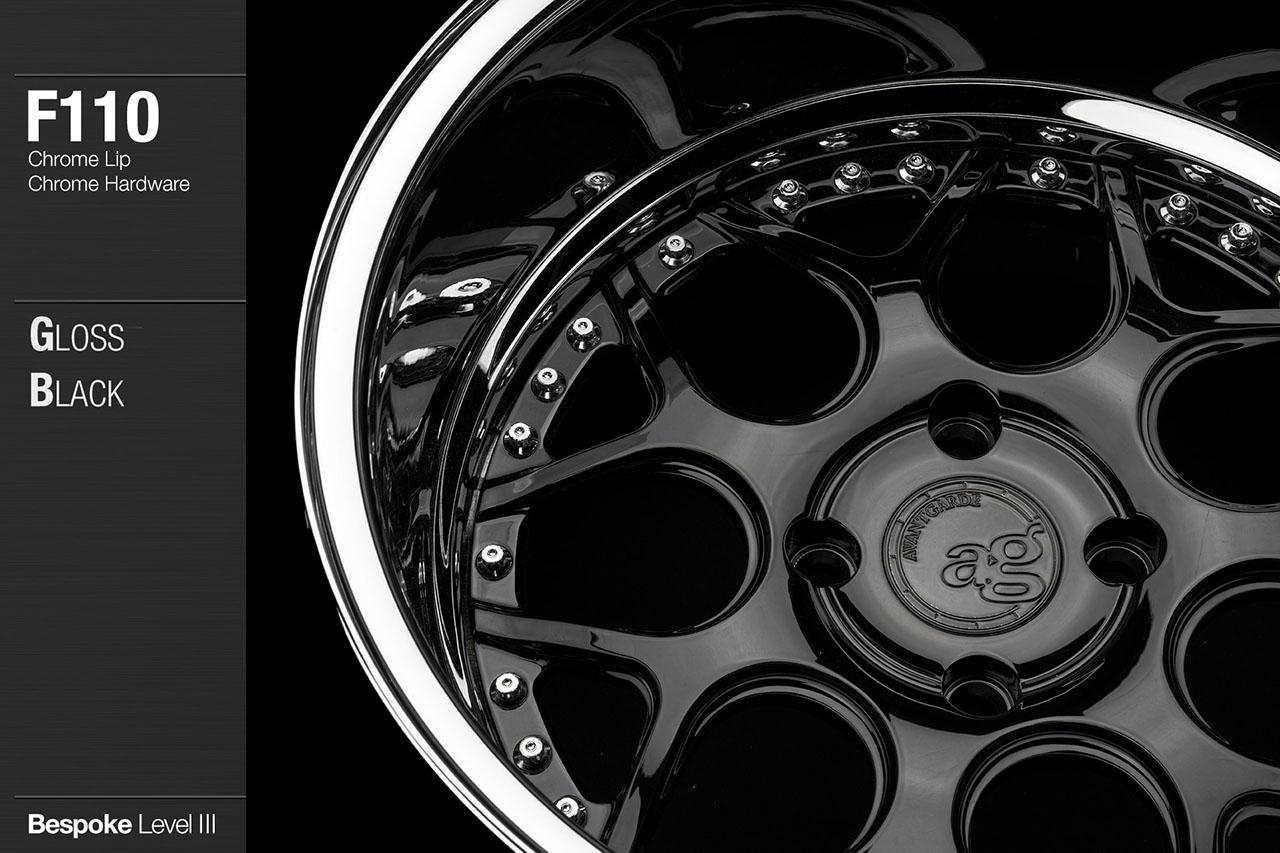 agwheels ag wheel wheels avant garde f110 gloss black center chrome lip hardware forged wheels forge 3piece 3 piece 19inch 20inch