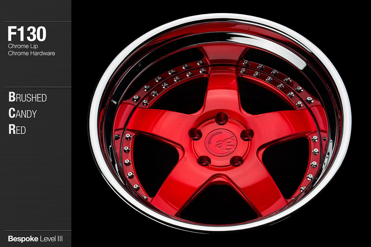 agwheels ag wheel wheels avant garde f130 brushed candy red chrome lip hardware forged wheels forge 3piece 3 piece 19inch 20inch
