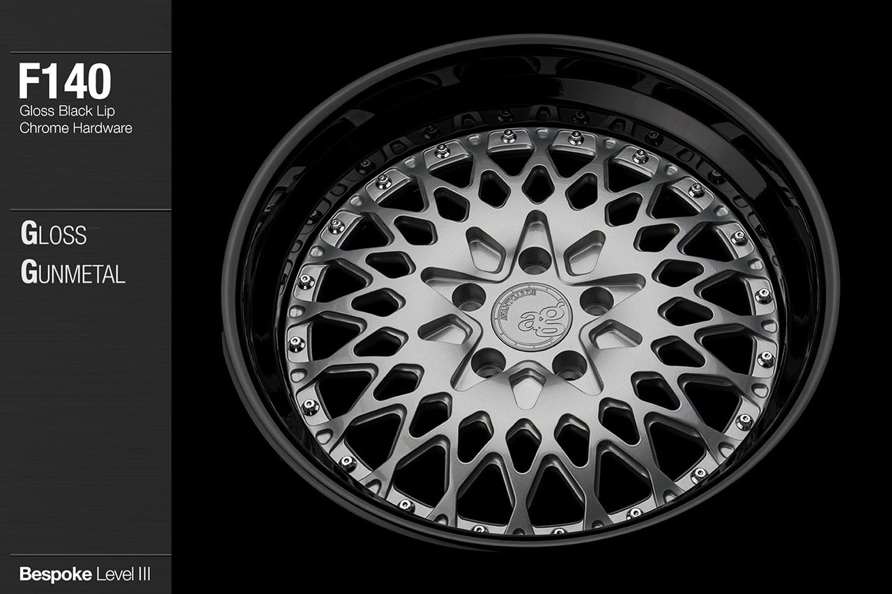 agwheels ag wheel wheels avant garde f140 gloss gunmetal black lip chrome hardware forged wheels forge 3piece 3 piece 19inch 20inch