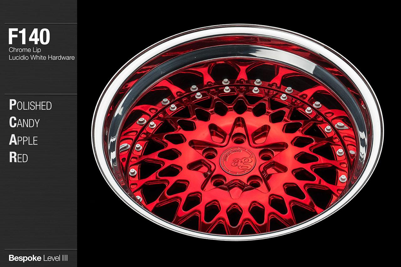 agwheels ag wheel wheels avant garde f140 polished candy apple red chrome lip hardware forged wheels forge 3piece 3 piece 19inch 20inch