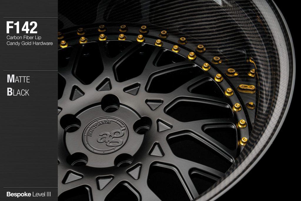 avant-garde-ag-wheels-f142-matte-black-face-carbon-fiber-lip-candy-gold-hardware-2-min