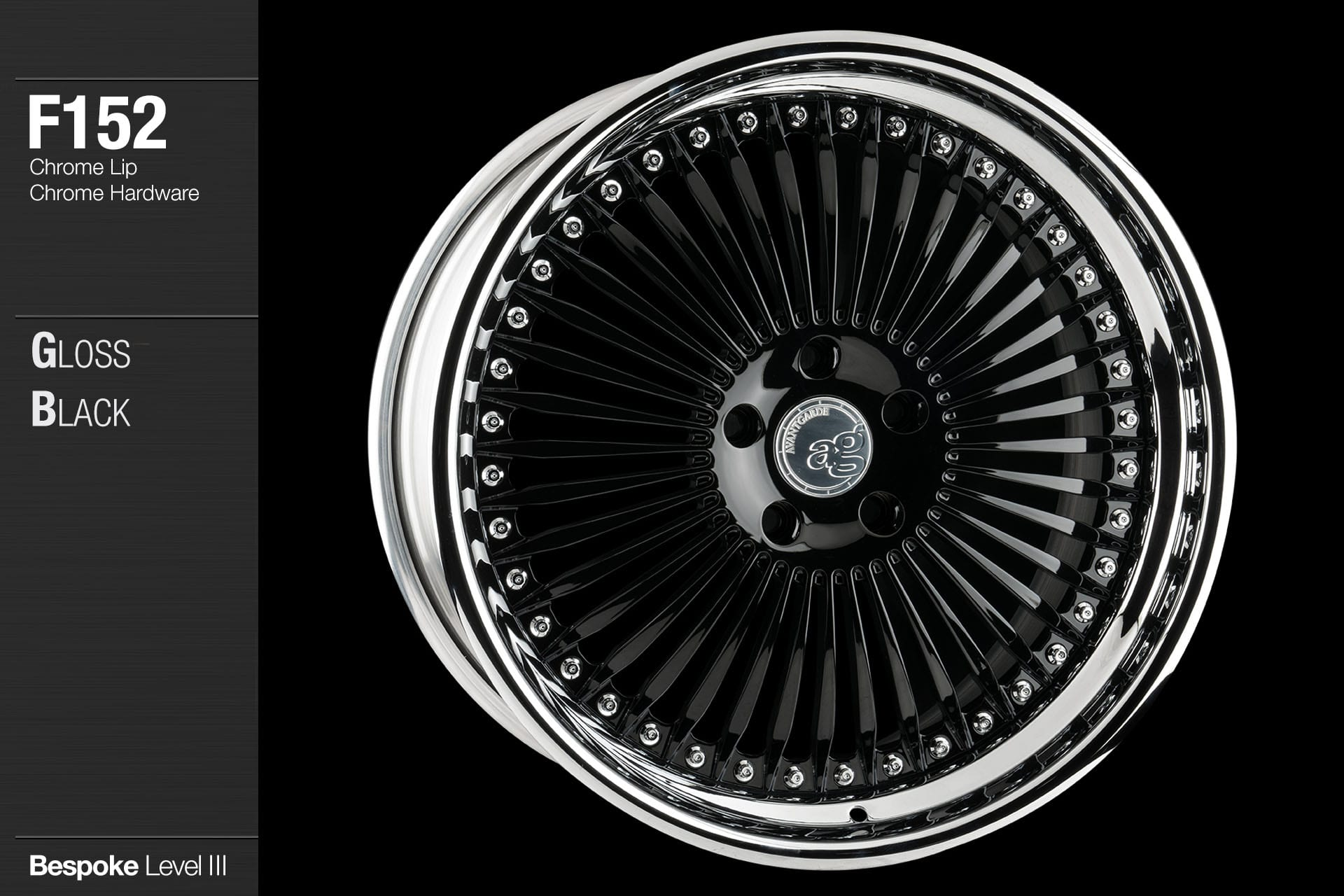 agwheels ag wheel wheels avant garde f152 gloss black chrome lip hardware forged wheels forge 3piece 3 piece 19inch 20inch