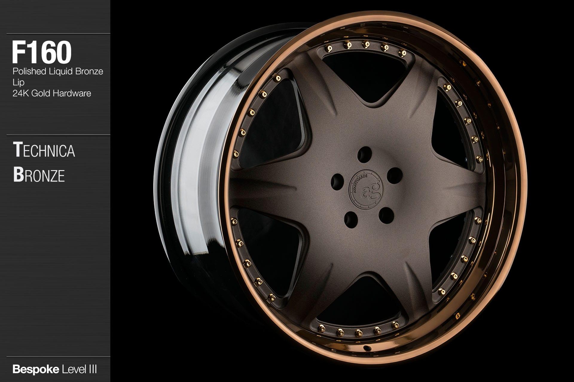 agwheels ag wheel wheels avant garde f160 technica bronze polished liquid bronze lip 24kt gold hardware forged wheels forge 3piece 3 piece 19inch 20inch