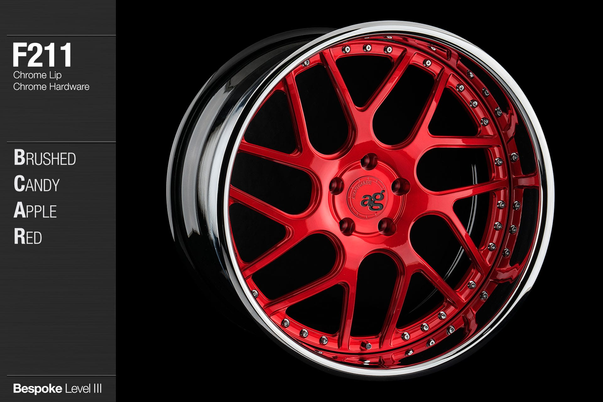 agwheels ag wheel wheels avant garde f211 brushed candy apple red chrome lip hardware forged wheels forge 3piece 3 piece 19inch 20inch
