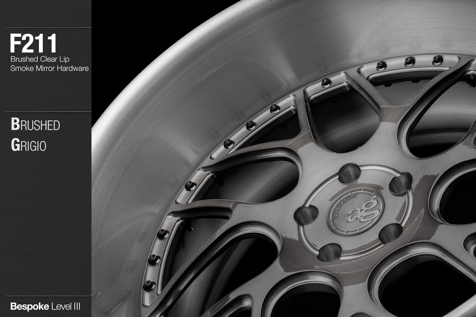 agwheels ag wheel wheels avant garde f211 brushed grigio clear lip smoke mirror hardware forged wheels forge 3piece 3 piece 19inch 20inch