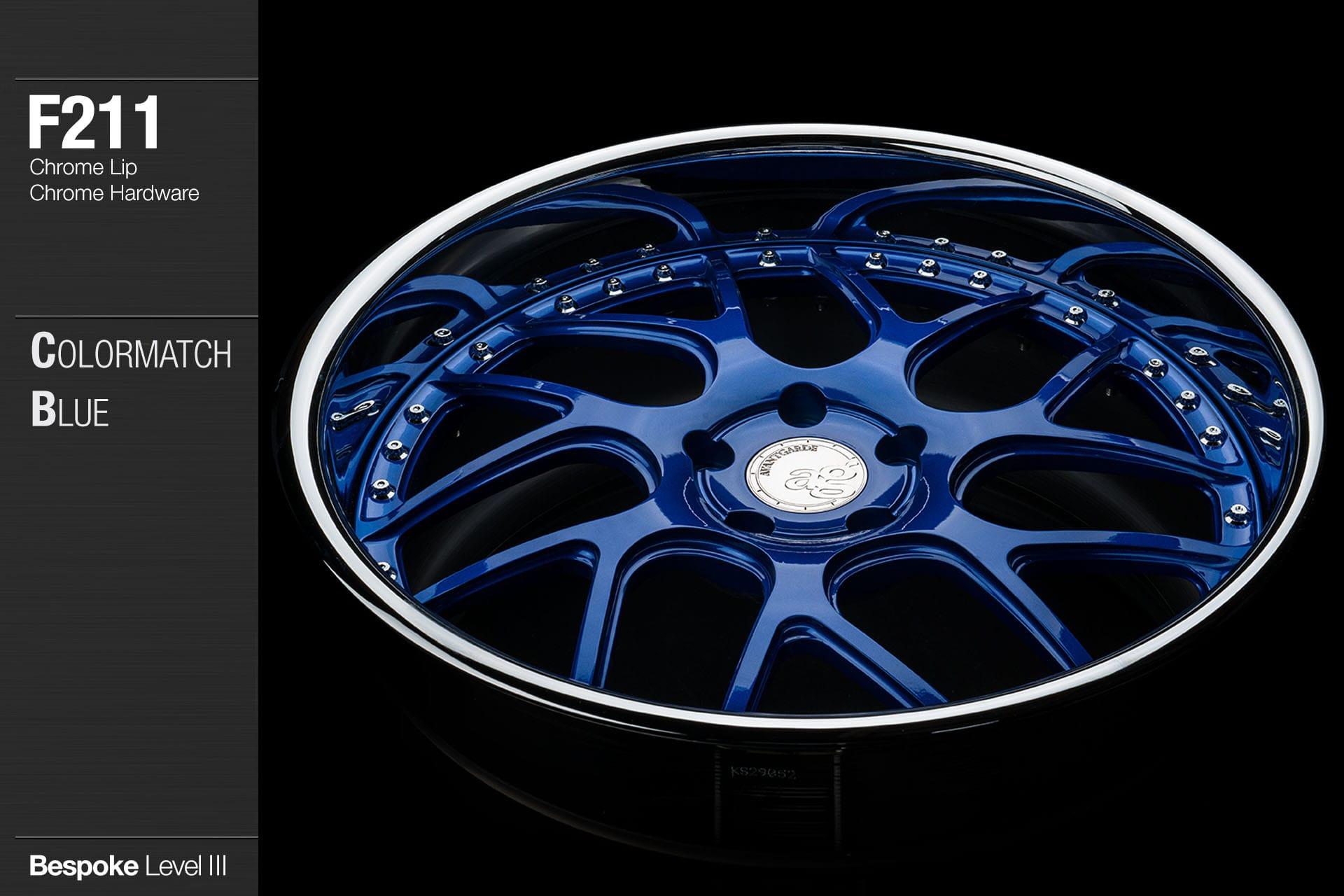 agwheels ag wheel wheels avant garde f211 ultrasonic blue chrome lip hardware forged wheels forge 3piece 3 piece 19inch 20inch
