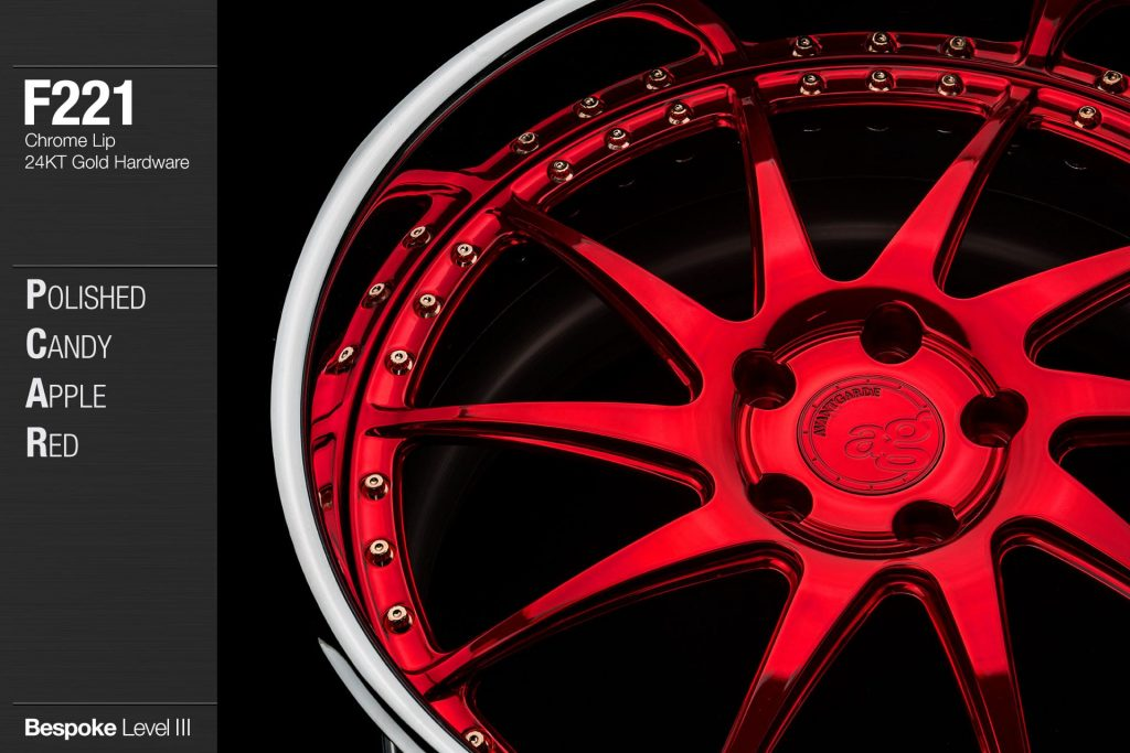 avant-garde-ag-wheels-f221-polished-candy-apple-red-face-chrome-lip-24kt-gold-hardware-2-min