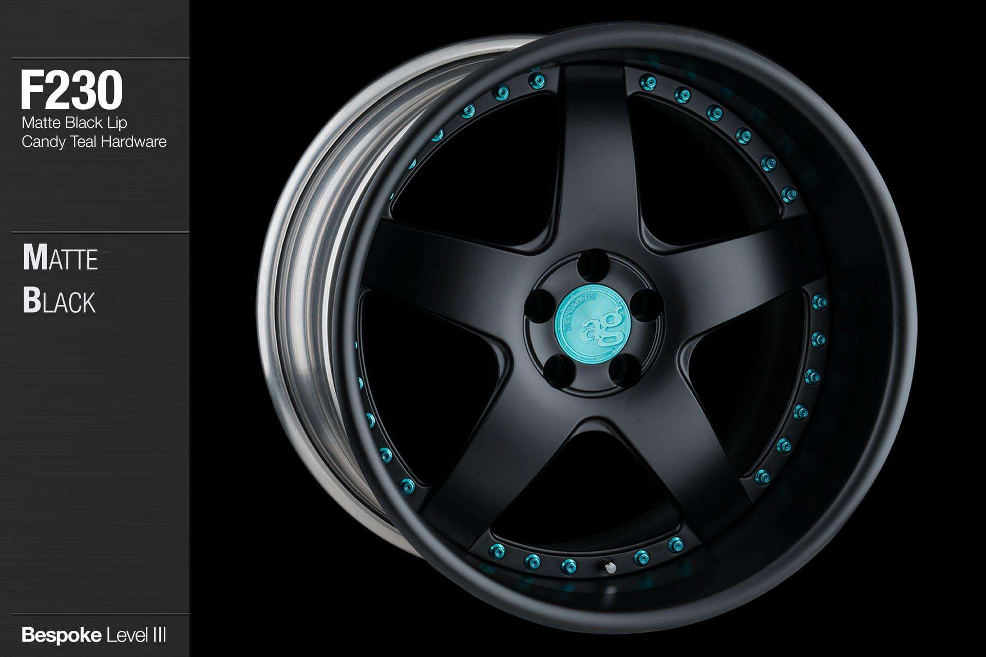 avant garde ag wheels f230 matte black candy teal hardware
