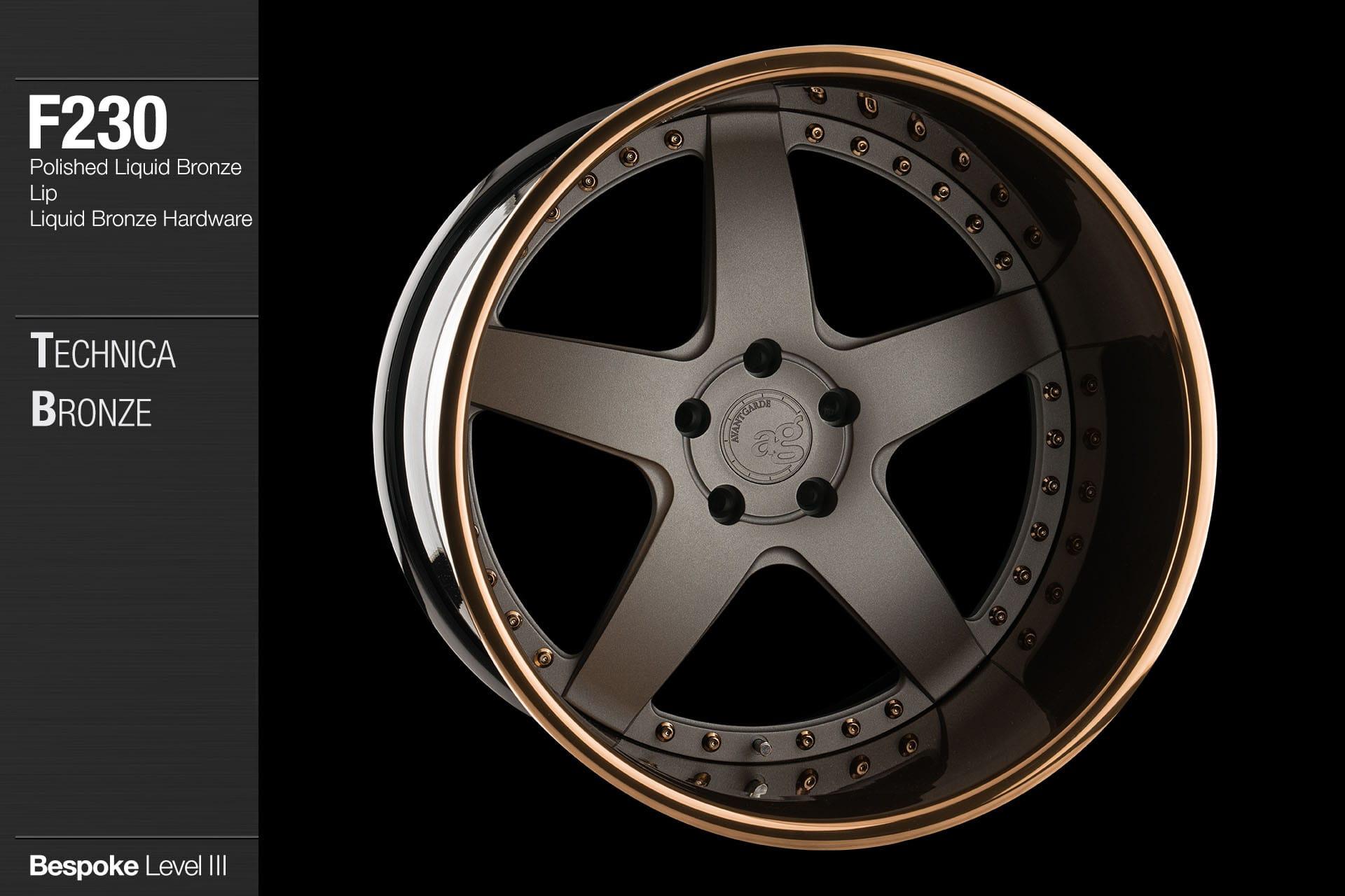 avant garde ag wheels f230 technica bronze polished liquid bronze lip