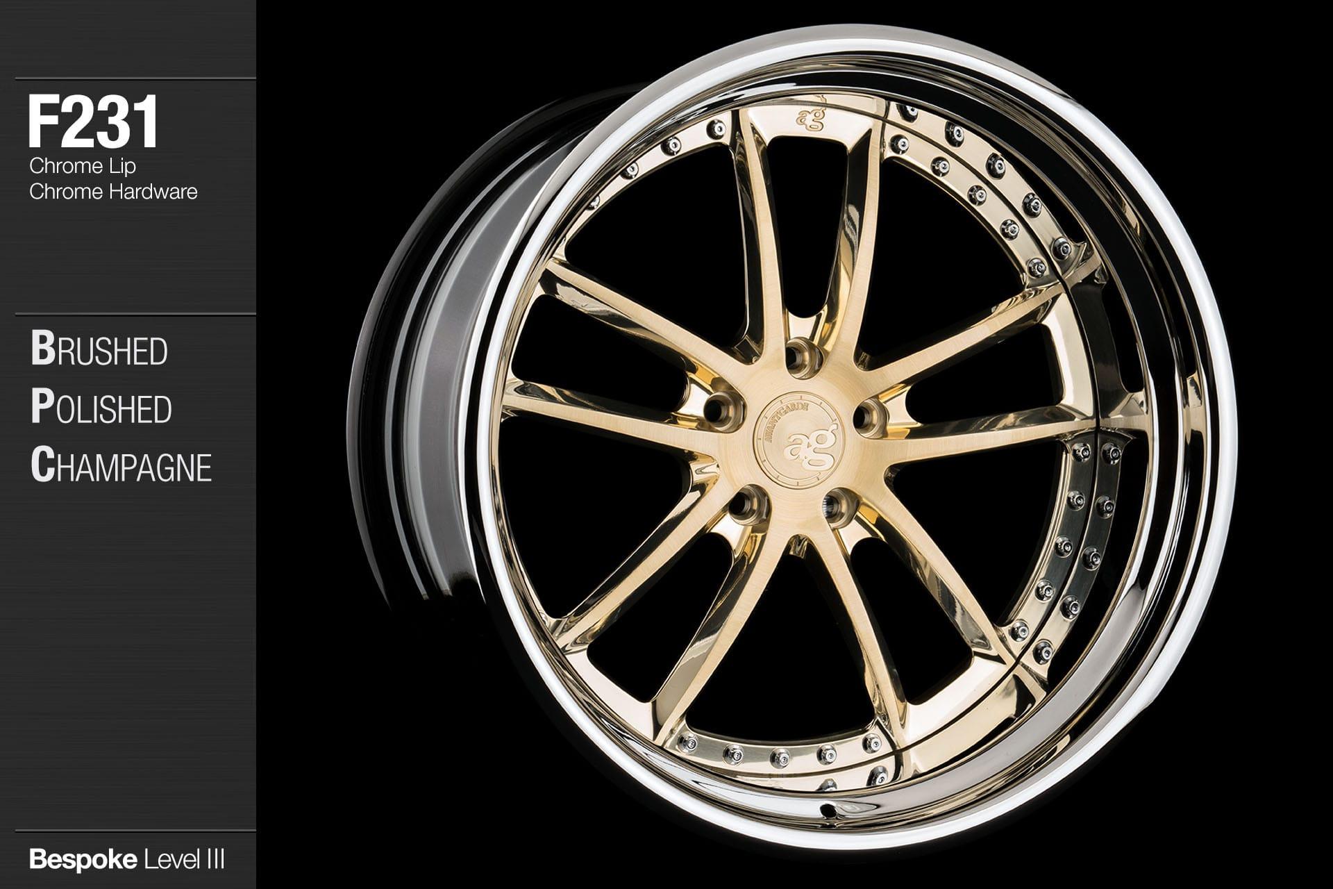 avant garde f231 brushed polished champagne chrome lip chrome hardware bespoke 3 piece wheels