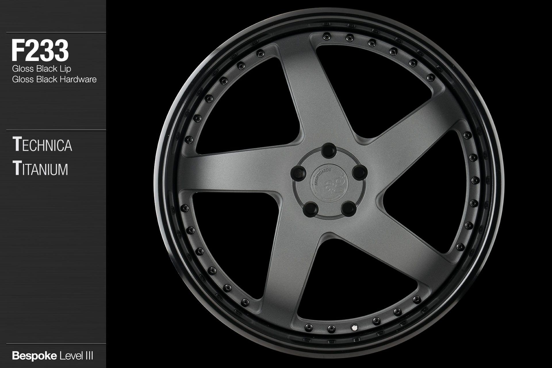 avant garde ag wheels f233 technica titanium center gloss black lip gloss black hardware