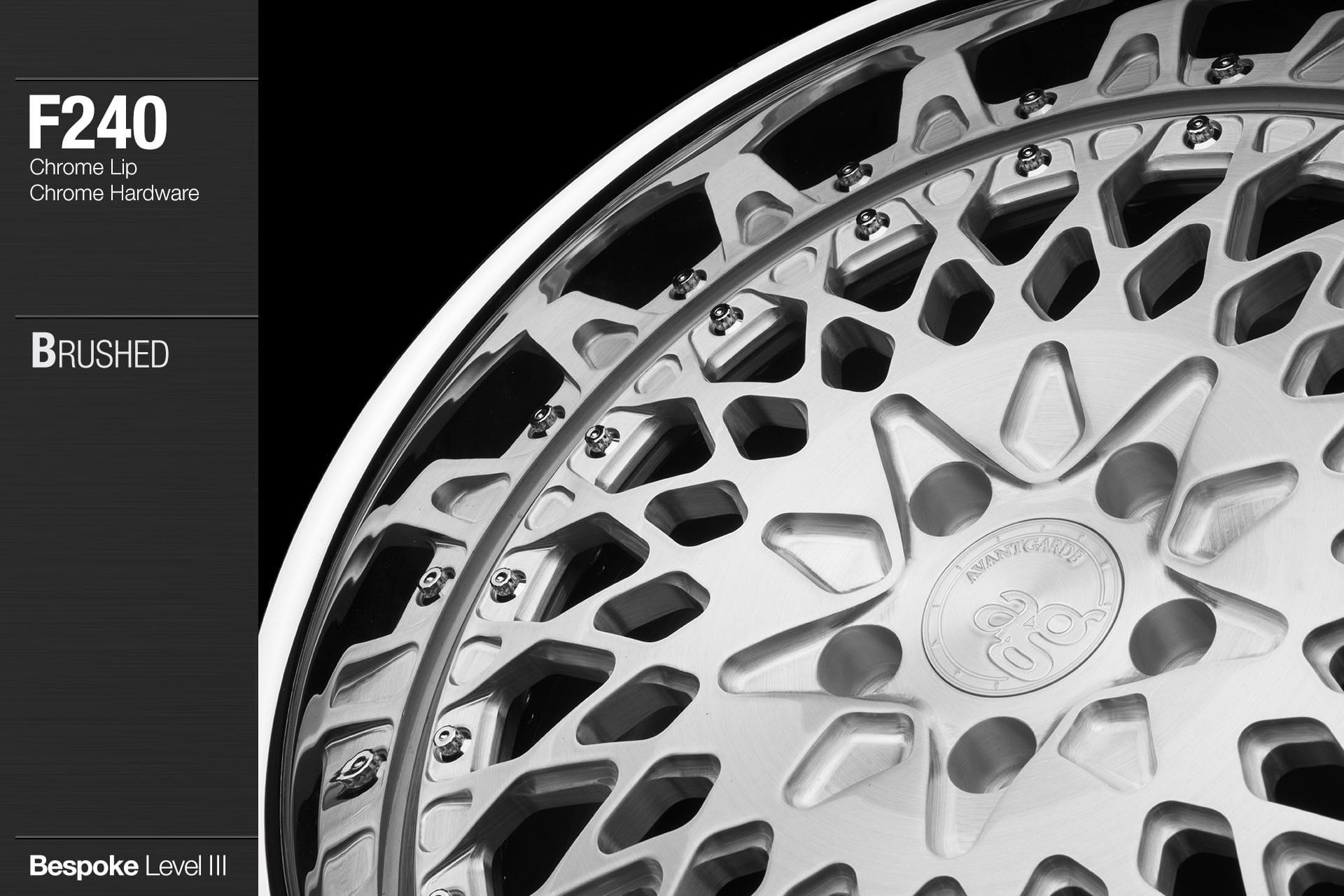 avant garde ag wheels f240 brushed center chrome lip chrome hardware