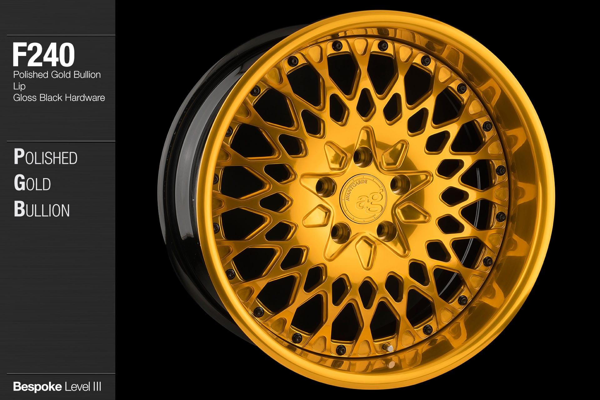 avant garde f240 polished gold bullion center and lip black hardware