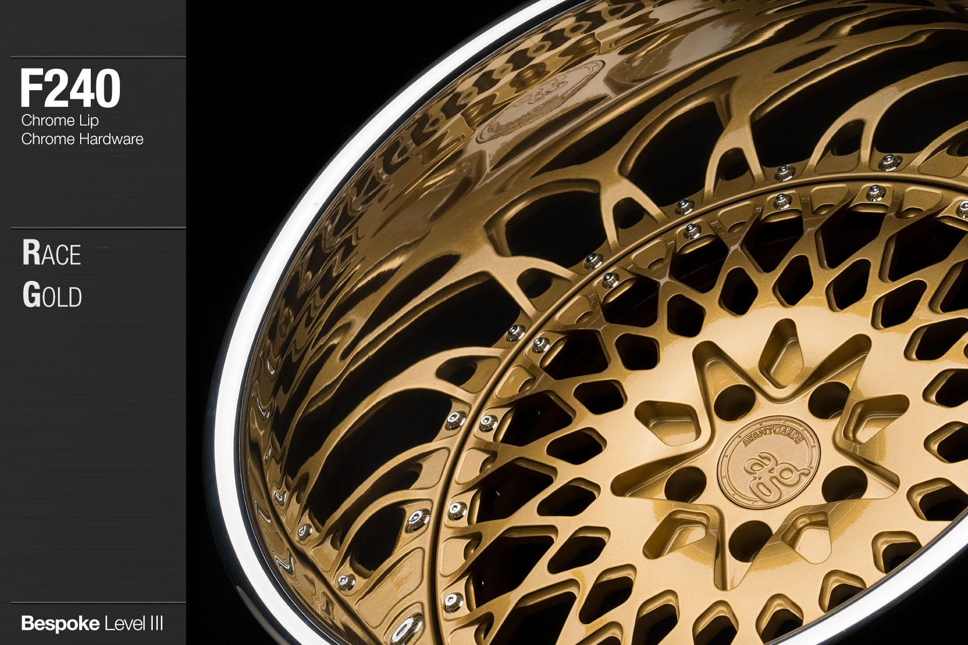 avant garde f240 race gold chrome lip chrome hardware