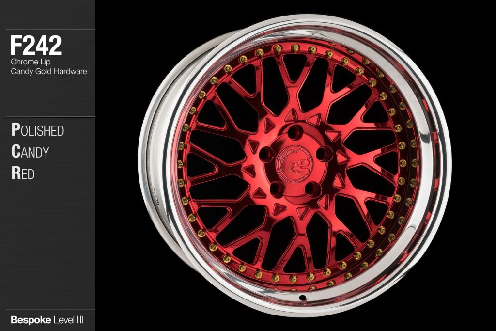avant-garde-ag-wheels-f242-polished-candy-apple-red-chrome-lip-candy-gold-hardware-4-min