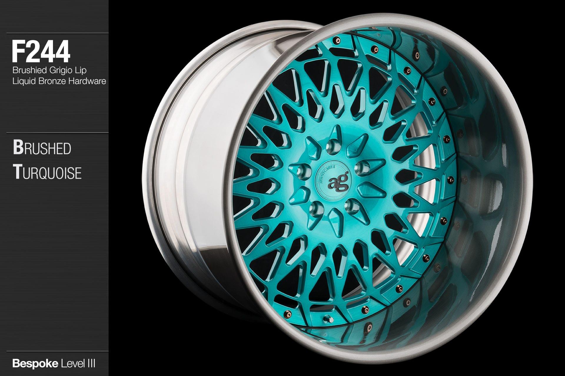 avant garde f244 brushed turquoise center brushed grigio lip liquid bronze hardware