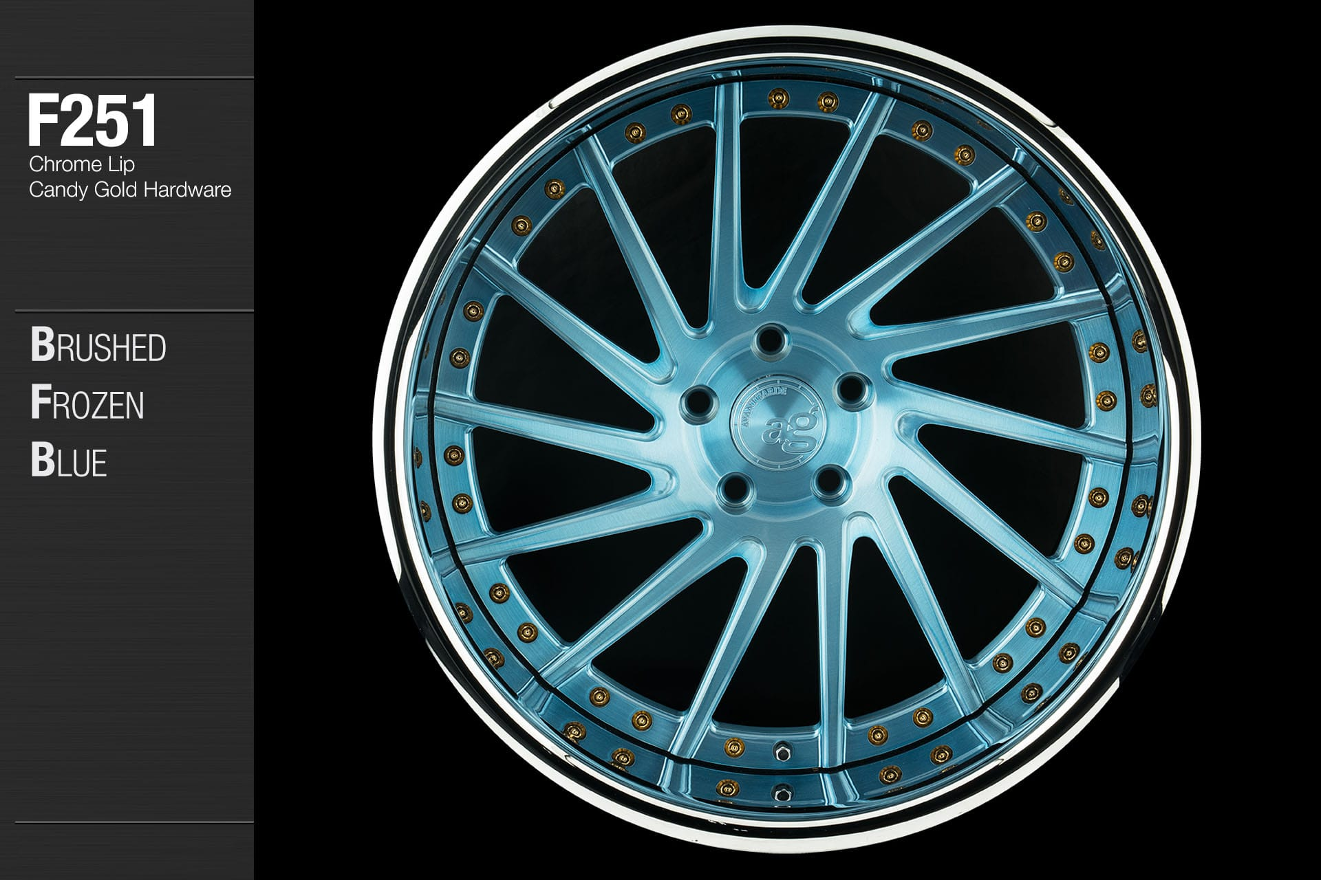 avant-garde-ag-wheels-f251-brushed-frozen-blue-face-chrome-lip-candy-gold-hardware-1-min
