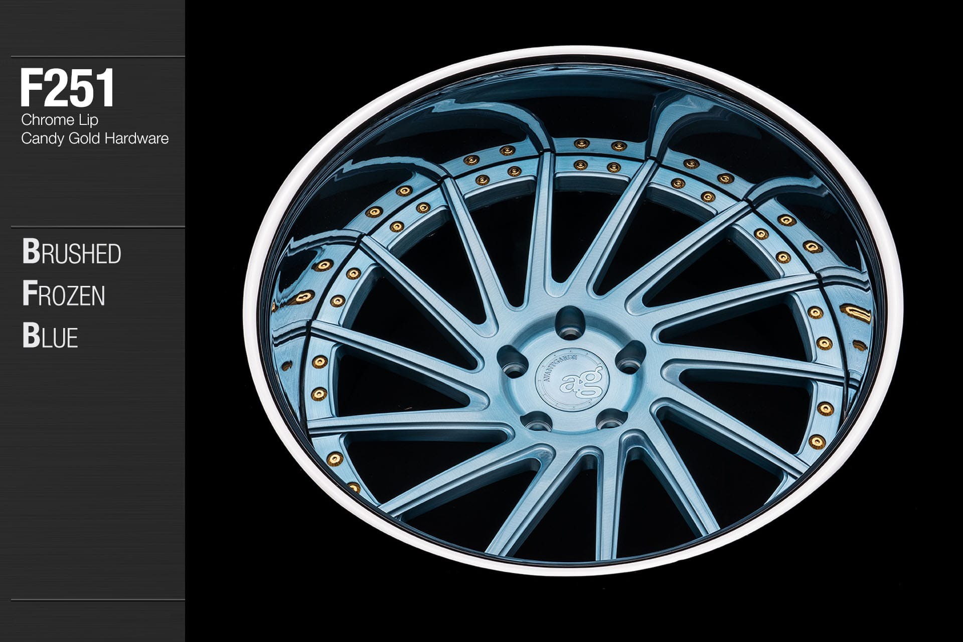 avant-garde-ag-wheels-f251-brushed-frozen-blue-face-chrome-lip-candy-gold-hardware-3-min