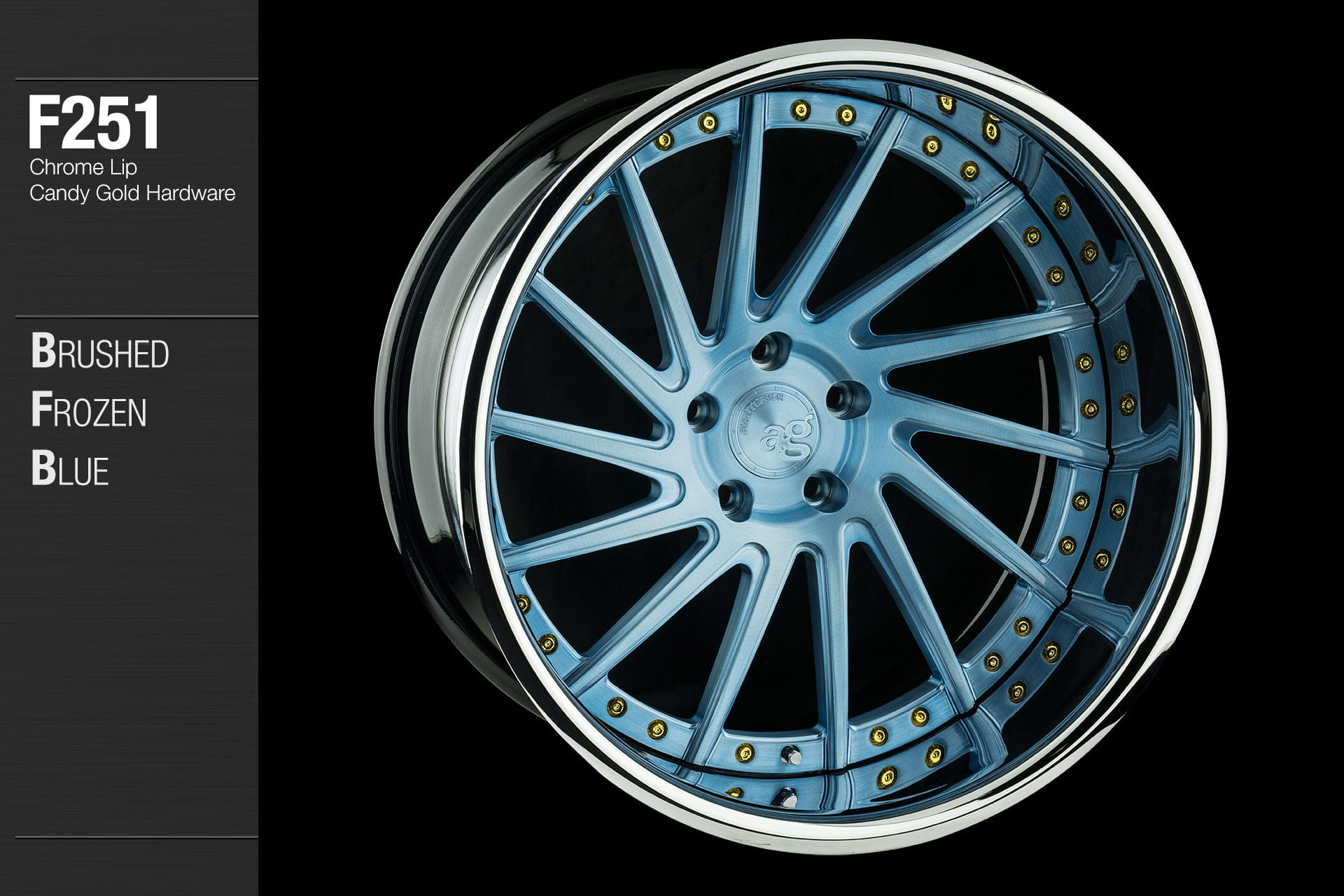 avant-garde-ag-wheels-f251-brushed-frozen-blue-face-chrome-lip-candy-gold-hardware-4-min