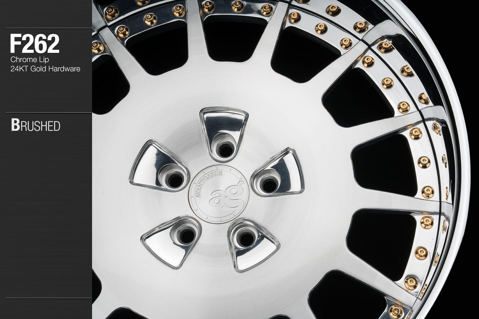 avant garde f262 brushed center chrome lip 24kt gold hardware