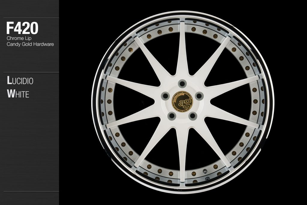 avant-garde-ag-wheels-f420-lucidio-white-face-chrome-lip-candy-gold-hardware-1-min