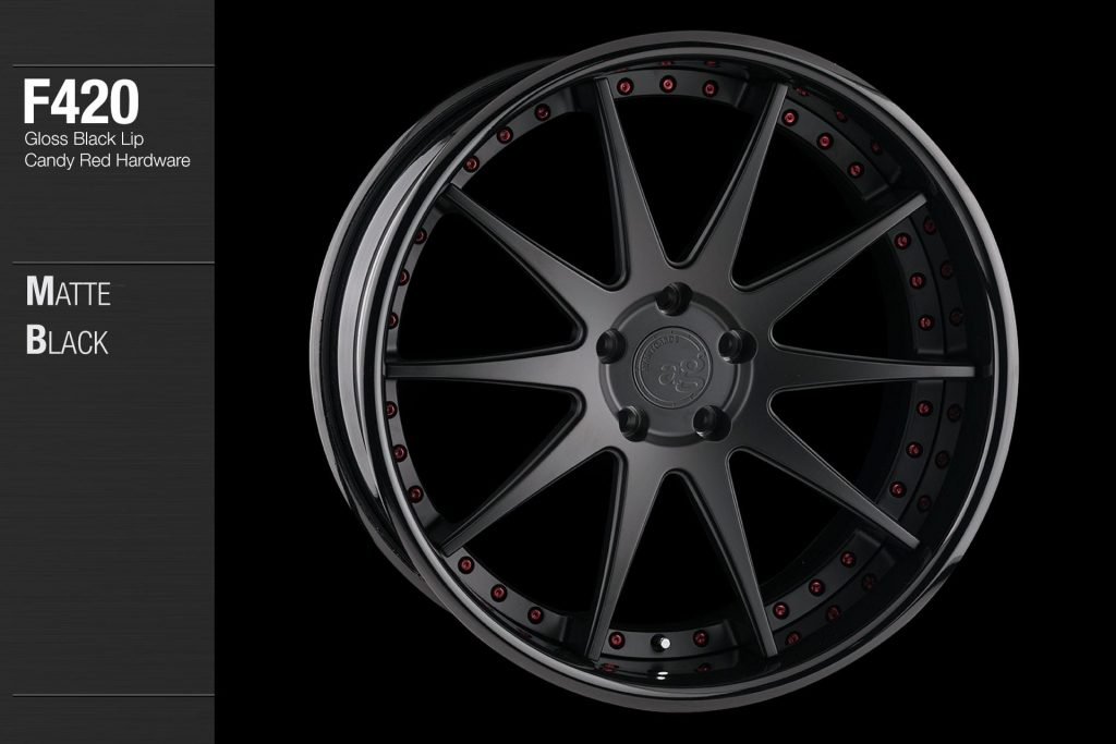 avant-garde-ag-wheels-f420-matte-black-face-gloss-black-lip-candy-red-hardware-4-min