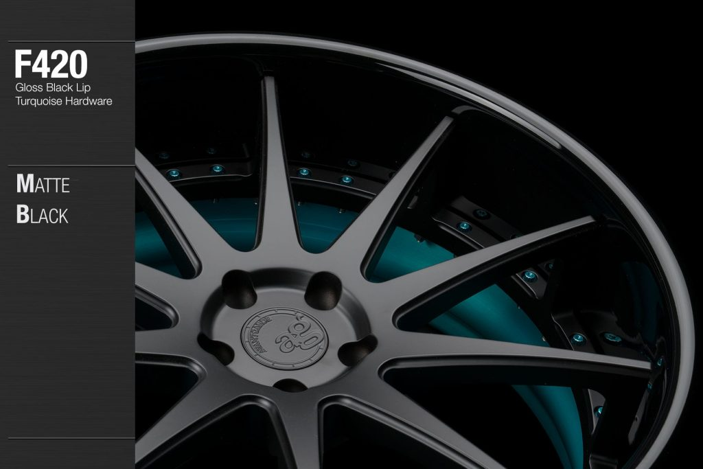 avant-garde-ag-wheels-f420-matte-black-face-gloss-black-lip-turquoise-hardware-2-min