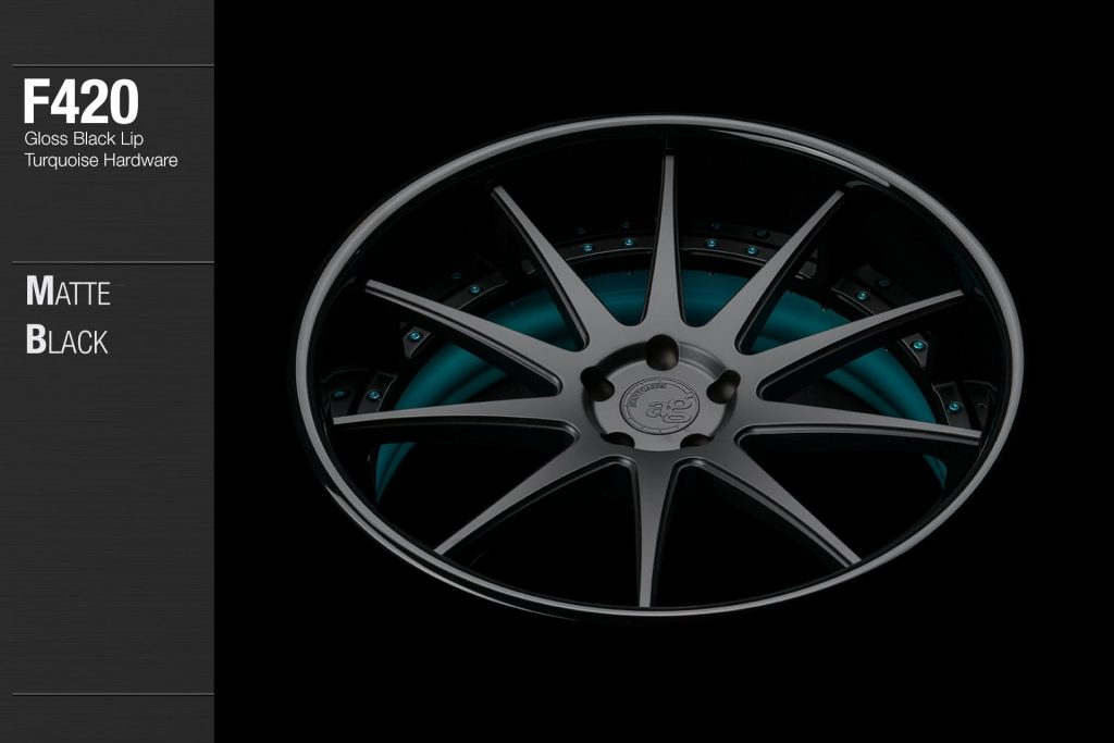 avant-garde-ag-wheels-f420-matte-black-face-gloss-black-lip-turquoise-hardware-3-min