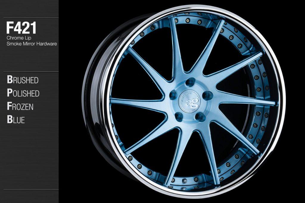 avant-garde-ag-wheels-f421-brushed-polished-frozen-blue-face-chrome-lip-smoke-mirror-hardware-4-min