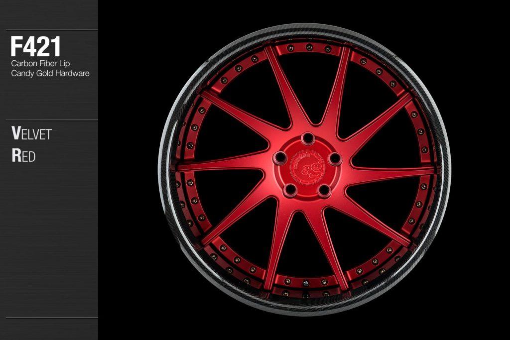 avant-garde-ag-wheels-f421-velvet-red-face-carbon-fiber-lip-candy-gold-hardware-1-min