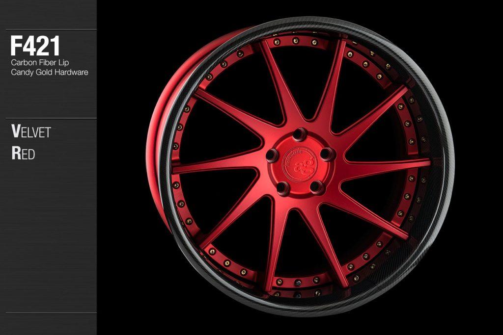 avant-garde-ag-wheels-f421-velvet-red-face-carbon-fiber-lip-candy-gold-hardware-4-min
