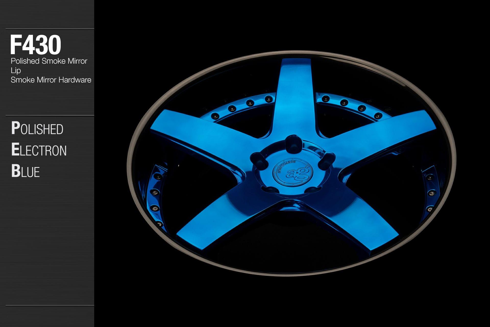avant garde f430 polished electron blue center polished smoke mirror lip smoke mirror hardware