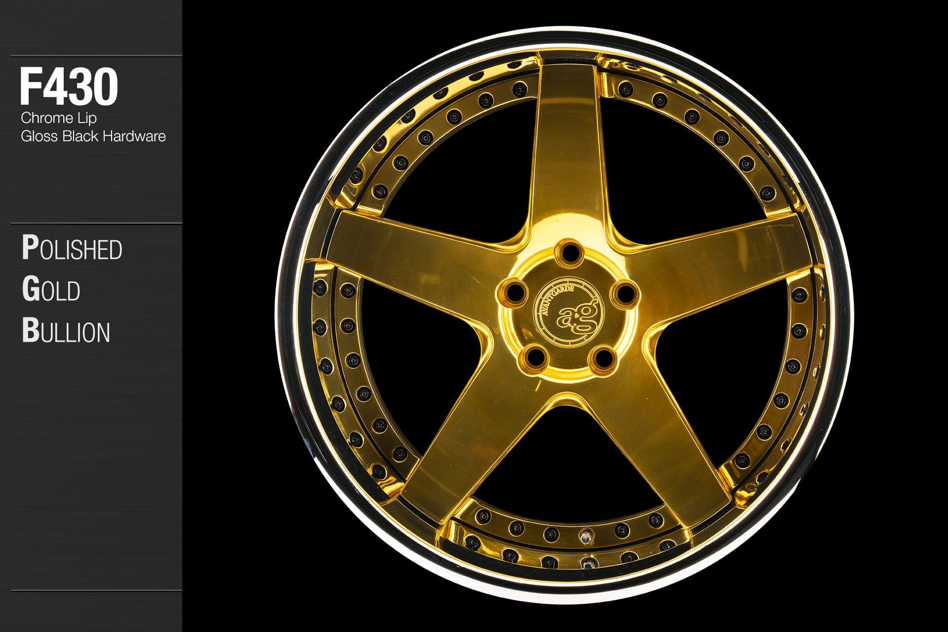 avant garde f430 polished gold bullion center chrome lip gloss black hardware