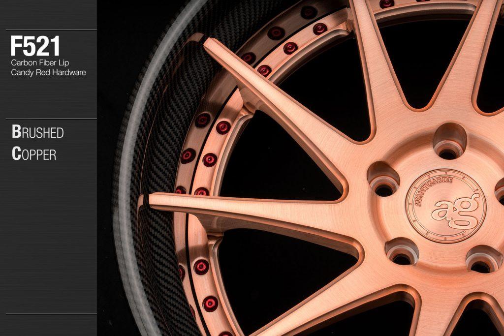 avant-garde-ag-wheels-f521-brushed-copper-carbon-fiber-lip-candy-red-hardware-2-min