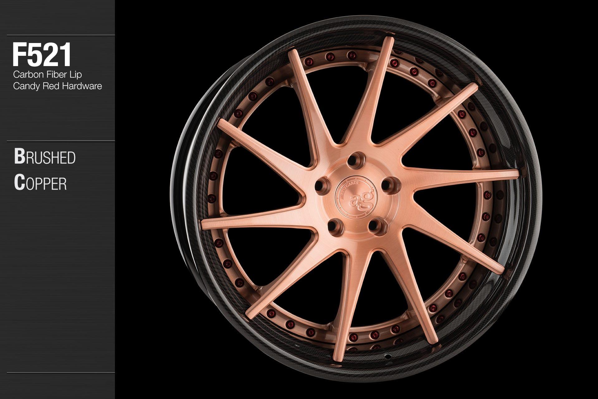 avant garde wheels f521 brushed copper center carbon fiber lip candy red hardware