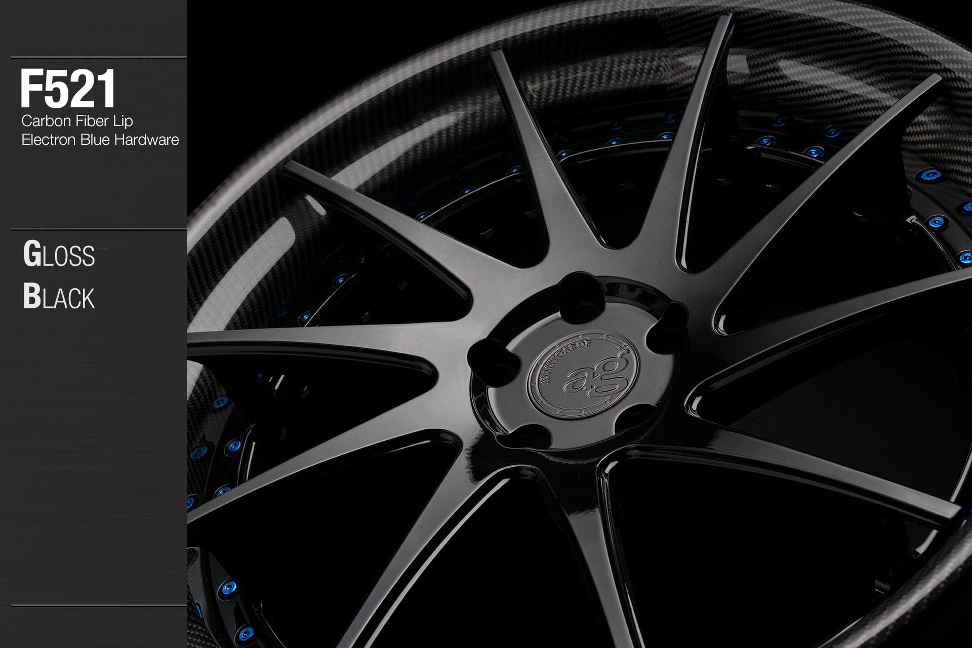 avant garde f521 gloss black center carbon fiber lip electron blue hardware