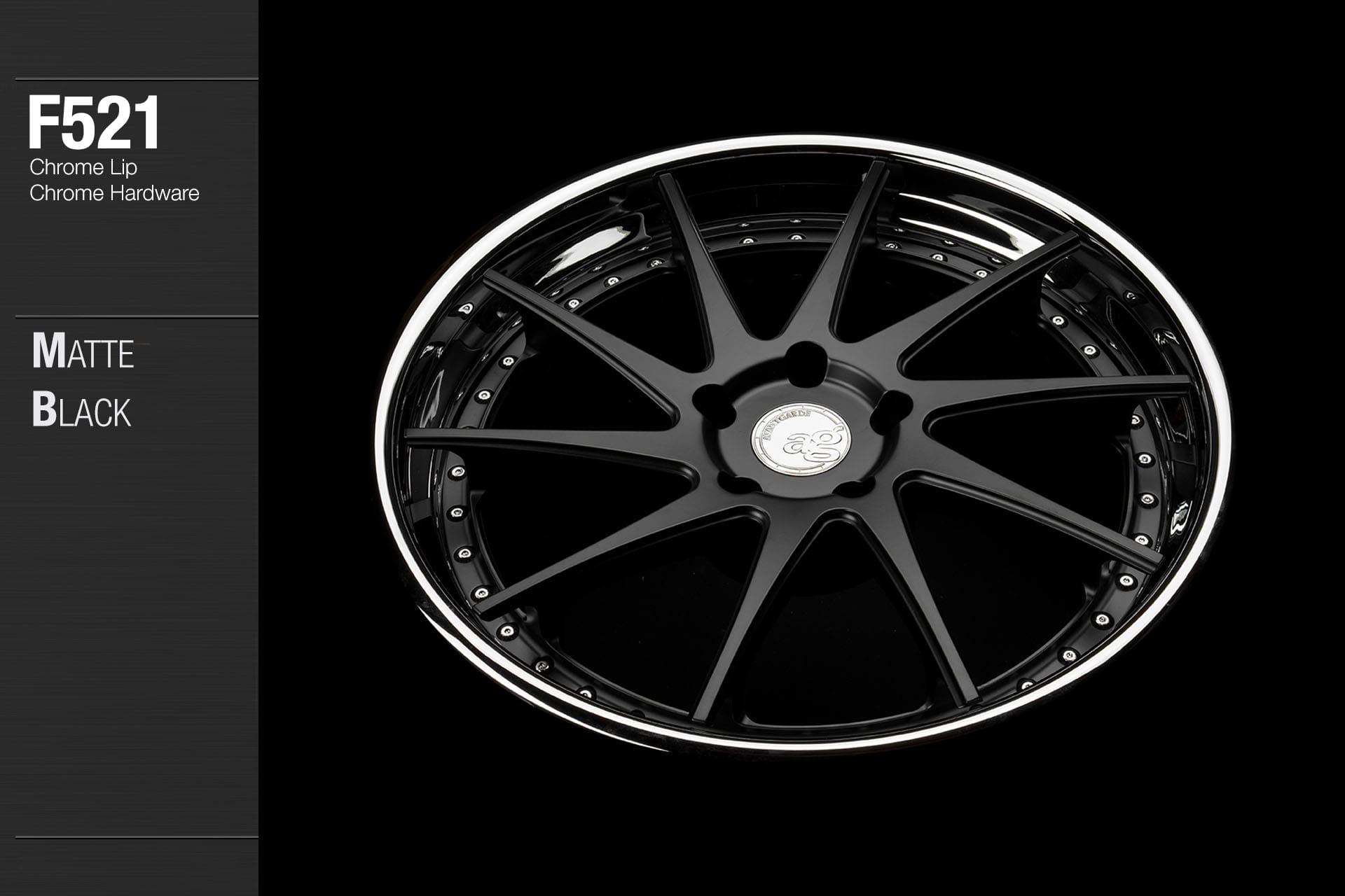 avant garde f521 matte black center chrome lip chrome hardware