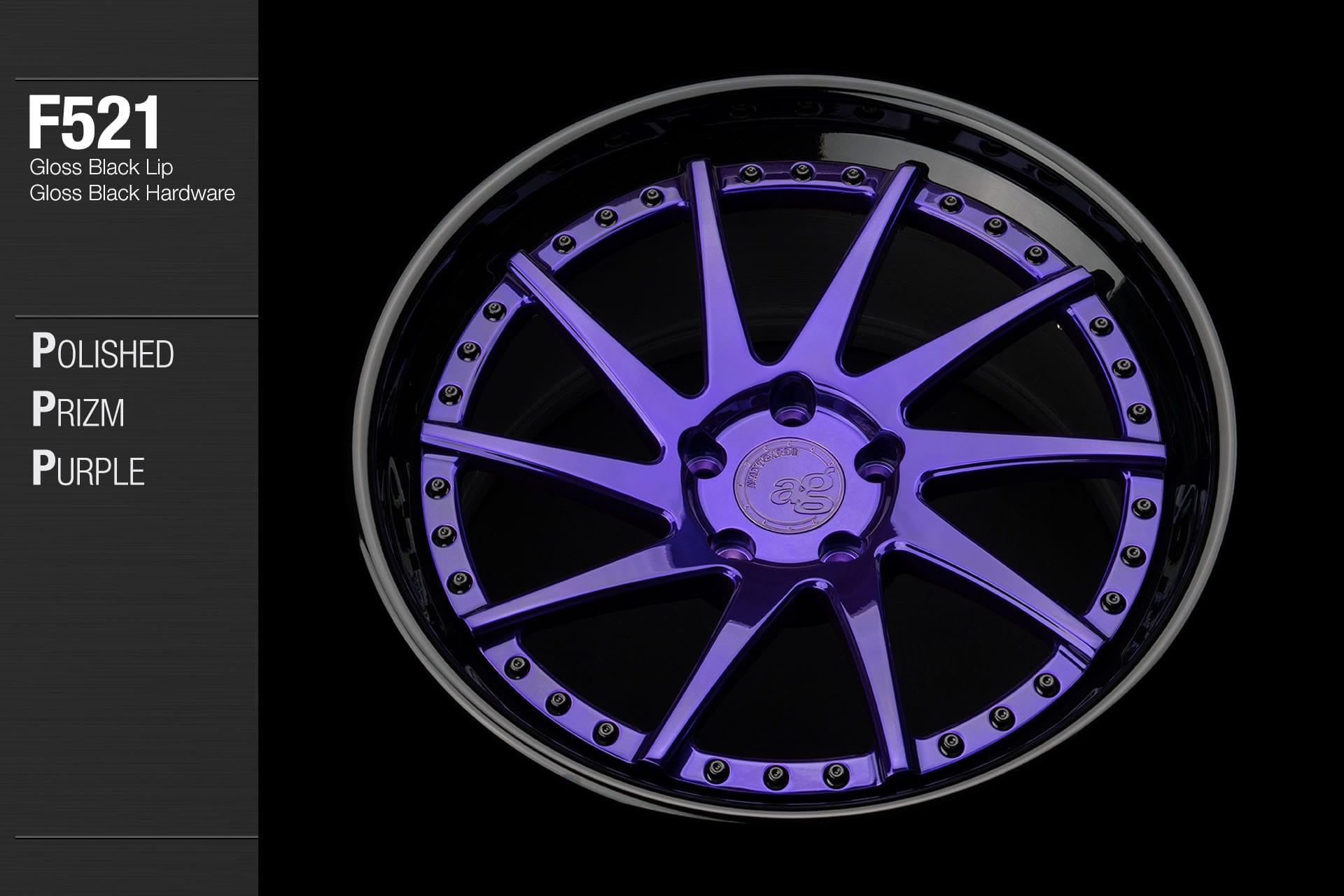 avant garde f521 polished prism purple center gloss black lip gloss black hardware