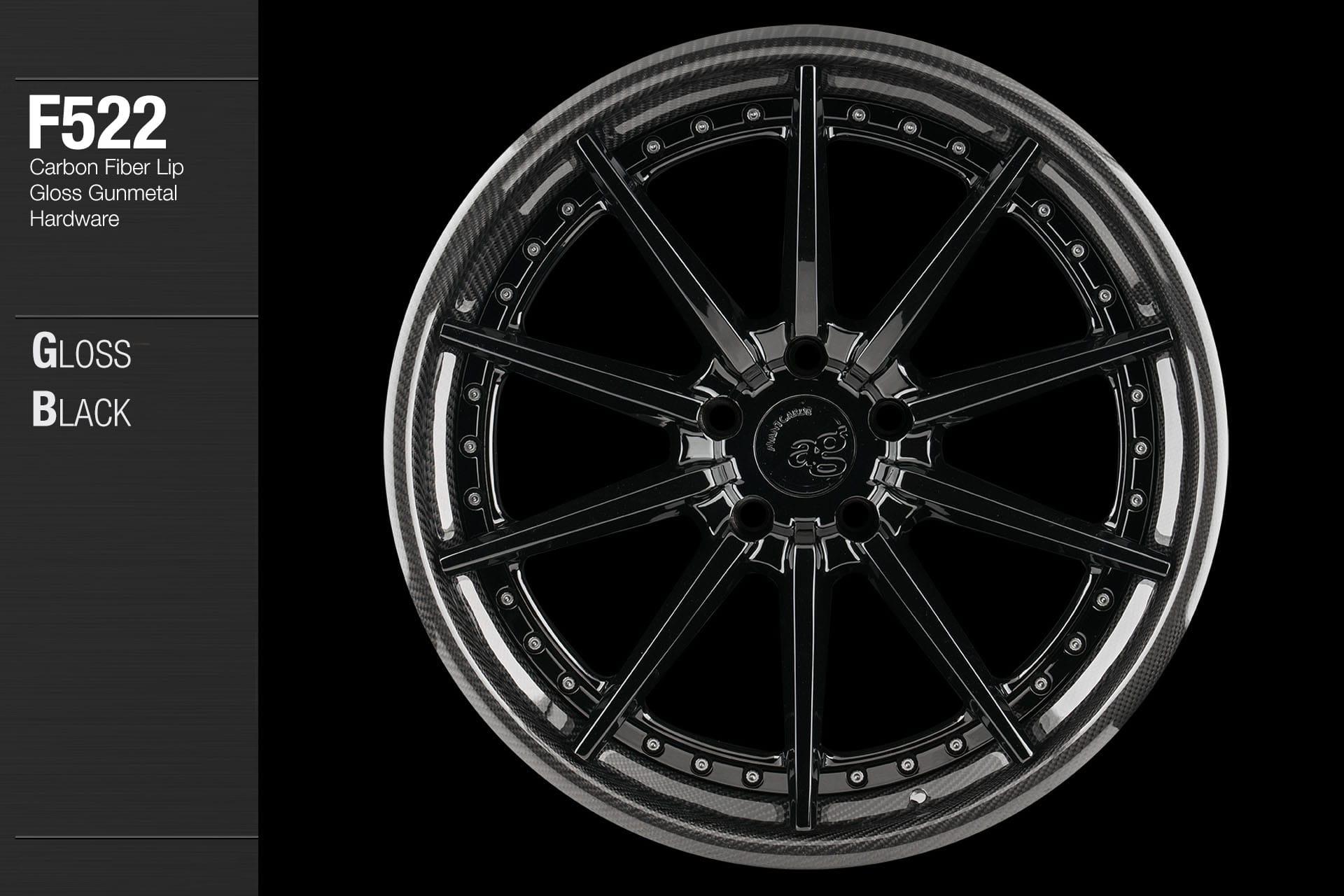 avant garde f522 gloss black center carbon fiber lip gloss gunmetal hardware
