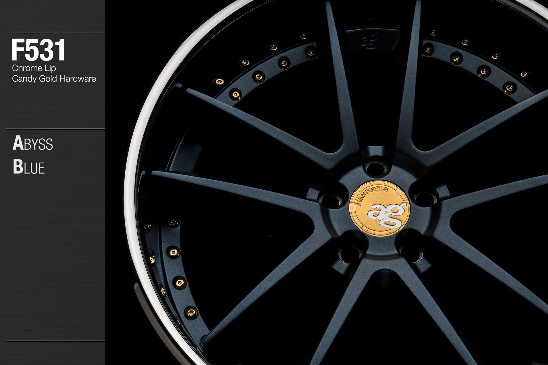 avant-garde-ag-wheels-f531-abyss-blue-face-chrome-lip-candy-gold-hardware-2-min